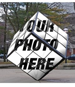 Rubiks Cube as a monument of the street where you can put your image
