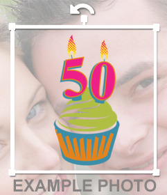 Photo effect to celebrate 50 years pasting a cupcake on your photo