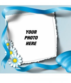 Photo frame with a blue tie and daisies where you can frame your image