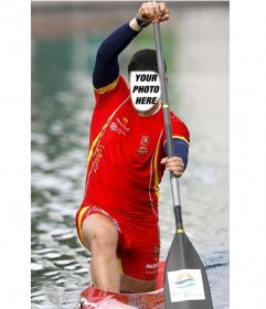Photomontage in which you will be a canoeist adding your photo