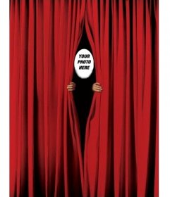 Photomontage to put your face and peek between a red curtain