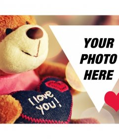 Valentine postcard with a teddy to personalize with your photo