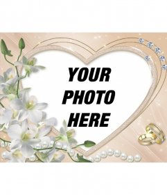 Photo frame heart-shaped, decorated with diamonds, flowers and rings of marriage