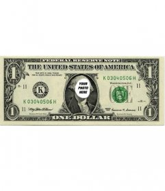 Original photomontage where you can put your face on the one dollar bill