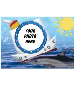 Photo frame, boat dolphin and sea. To put your vacation photos