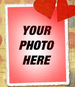 Love card with your photo, red tone and two hearts