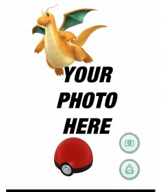 Photo effect with Dragonite of Pokemon Go where you can add a photo