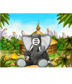 Mounting of a virtual elephant costume for kids