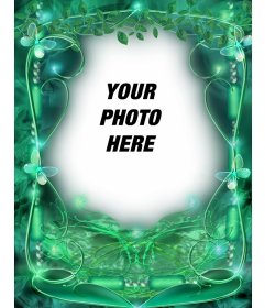 Photo frame with butterflies and emerald green background