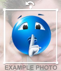 Sticker of a blue smiley sending silence you can put your photos online