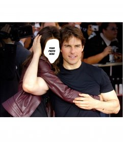 Photomontage to edit and pose embracing the actor Tom Cruise
