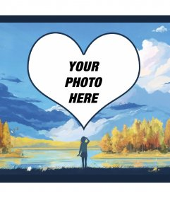 Photo frame with a heart in the clouds and a lake surrounded by trees