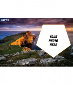 Customizable postcard with a picture of the Isle of Skye