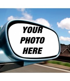Photomontage with your photo in a car mirror