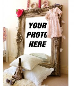 """Photomontage with the reflection on a mirror in a girl""""s room"""