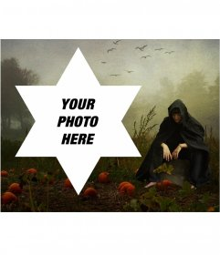 Photomontage with a hooded man to put your photo