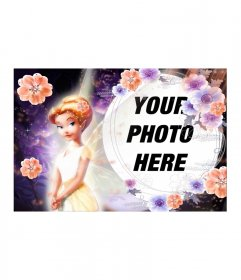 Photomontage of orange-haired fairy with flowers and dressed in matching purple background memorandum spherical space and a photo frame to include your photo