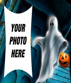 Picture frame of Halloween with a ghost