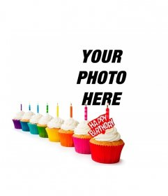 Birthday card with colorful cupcakes