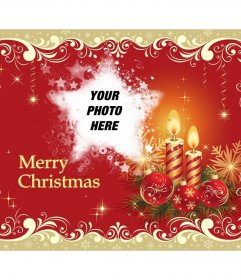 Merry Christmas greeting and photo with star shape