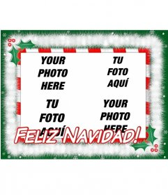 Christmas card to put 4 photos with text: MERRY CHRISTMAS