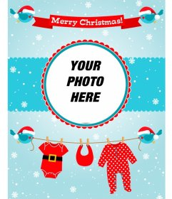 Card of Merry Christmas perfect for the photo of a child