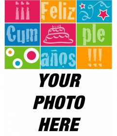 Customizable birthday card with a photo with the text happy birthday like a puzzle