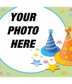 Photomontage with parties hats and many stars to celebrate