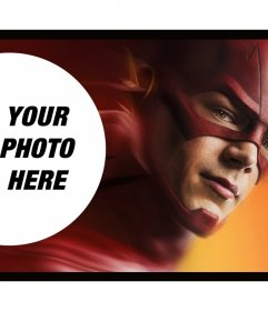 Photomontage with one of the Flash superheroes