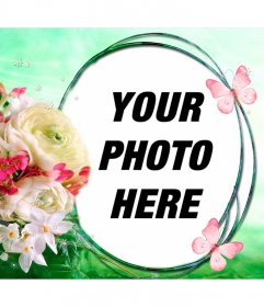 Composition with flowers and butterflies on a background of spring breeze to put your photo in a circular frame
