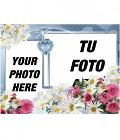 Photomontage to put two pictures made with flowers and a heart