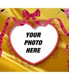 Postcard with flowers and heart-shaped links where you can put your picture in the background