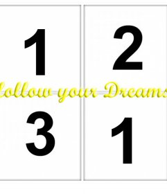 Photo collage with the phrase FOLLOW YOUR DREAMS to upload 4 of your photos