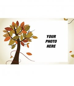 Autumn photo frame with a tree and a white background