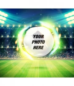 Put your photo in a frame of a football field and ball in background