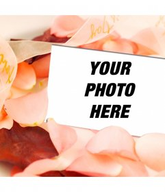 Love photo effect to put a picture in a postcard amid rose petals. Very romantic