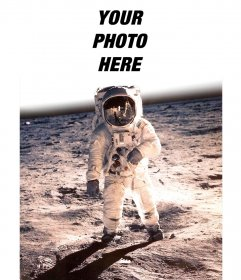 Photomontage with the famous photo of Neil Armstrong on the moon