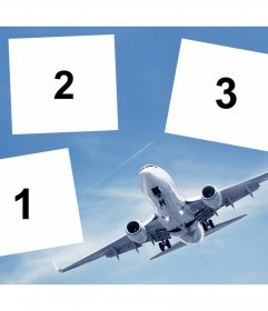 Free collage for three photos with an airplane ideal for travelers