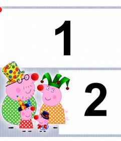 Children collage with Peppa Pig family