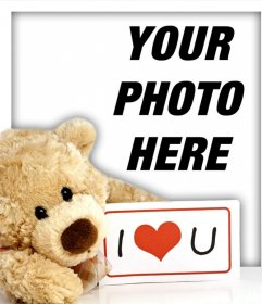 Cute teddy bear with a sign that says I LOVE YOU