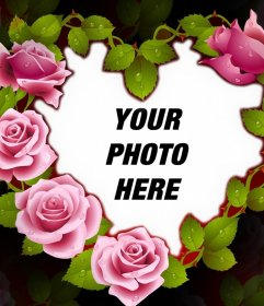 Cute photo frame of a heart with roses perfect for your photo