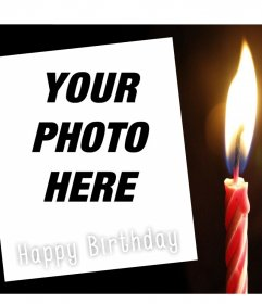 Editable postcard of Happy birthday for your photo and a candle