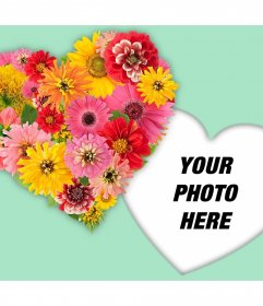 Heart made of flowers to decorate your photos with this effect