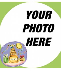 Card with a frame for your photo and a sticker with a birthday cake