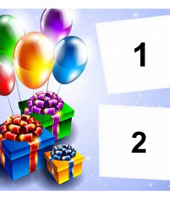 Card with balloons and gifts to editing with two photos and free