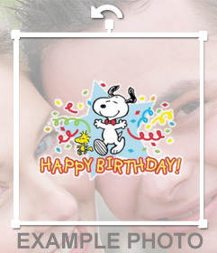 Sticker with Snoopy and the text Happy Birthday to celebrate with your photos