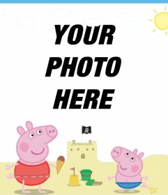 Edit this picture frame with Peppa Pig and George on the beach