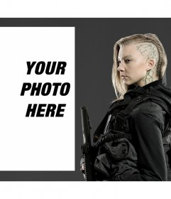 Photo effect with character Cressida of Hunger Games