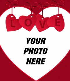 Upload your photo to this frame of love with an ornament and the word LOVE