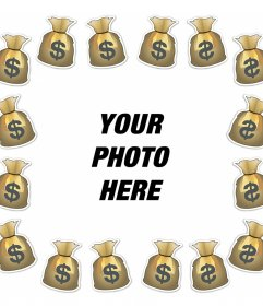 Photo effect to add a frame with bags of money to your photo